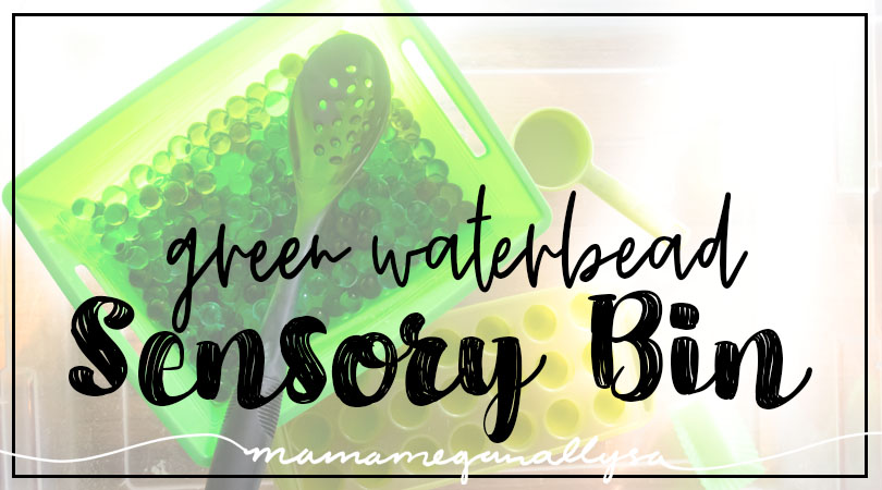 title card for green water bead sensory bin post