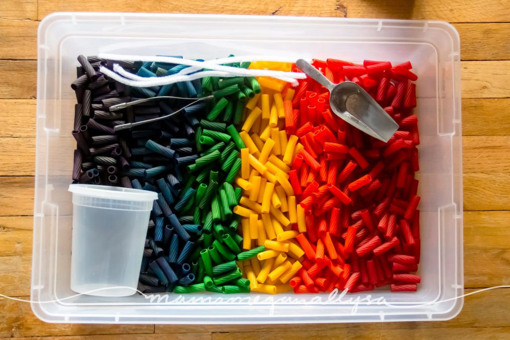 overview of the tools we used in our rainbow noodles sensory bin