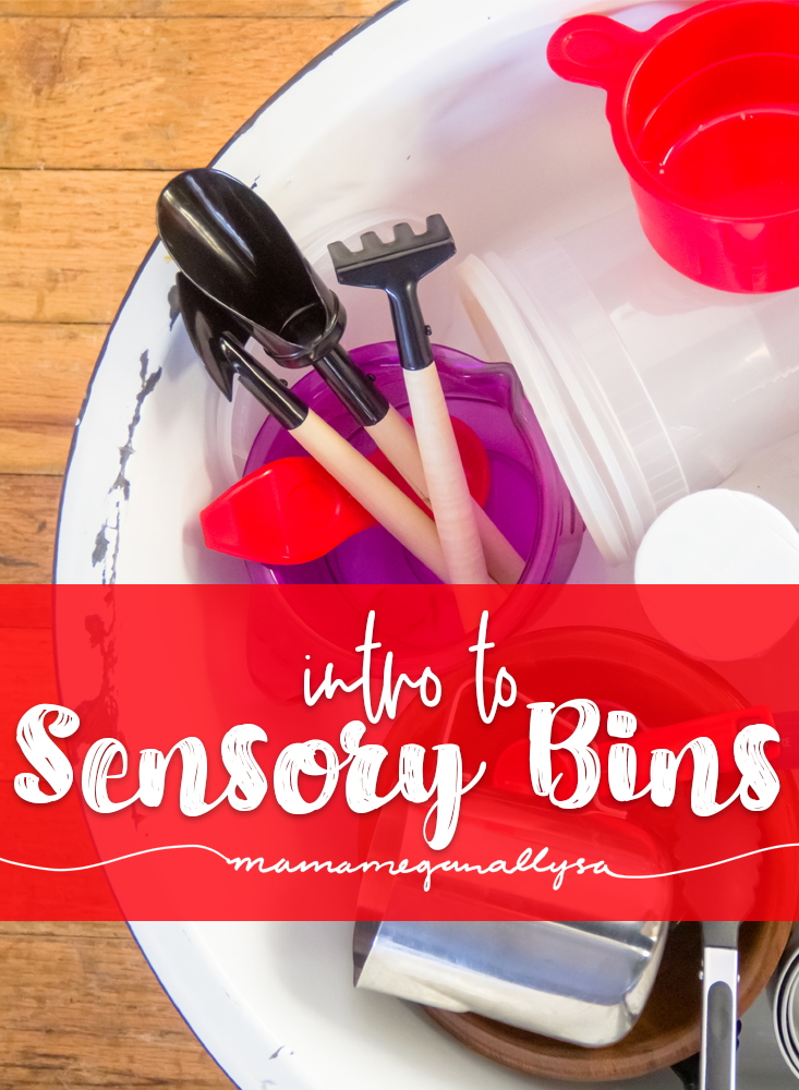 a collection of tools used in sensory bins, including scoops spoons tongs buckets, bowls, cups and canisters