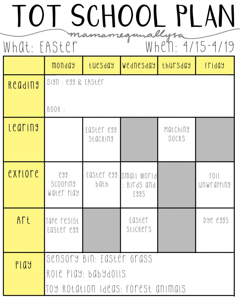 easter tot school plan