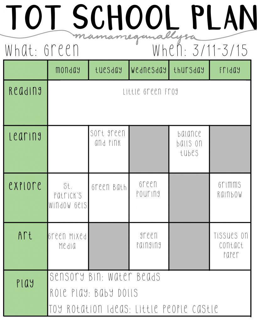 Our week of green Tot School activities