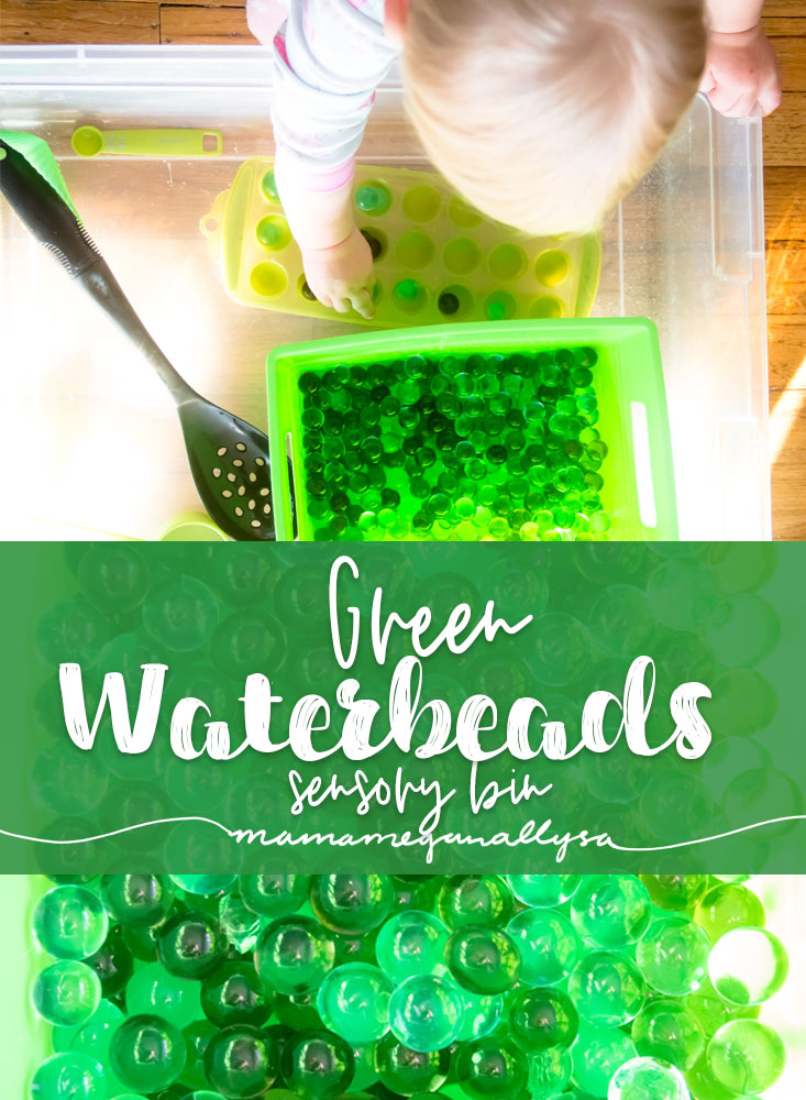 title card for my post on our green water bead sensory bin