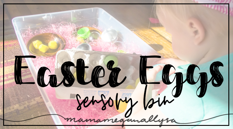 title card for Easter egg sensory bin