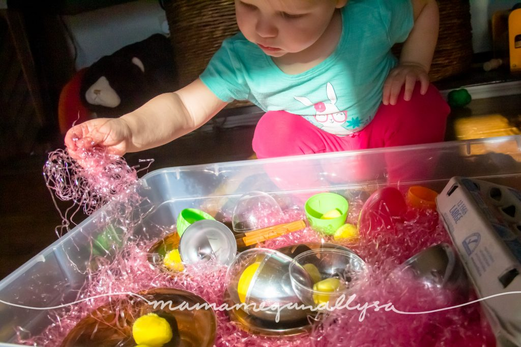 exploring the easter grass and eggs