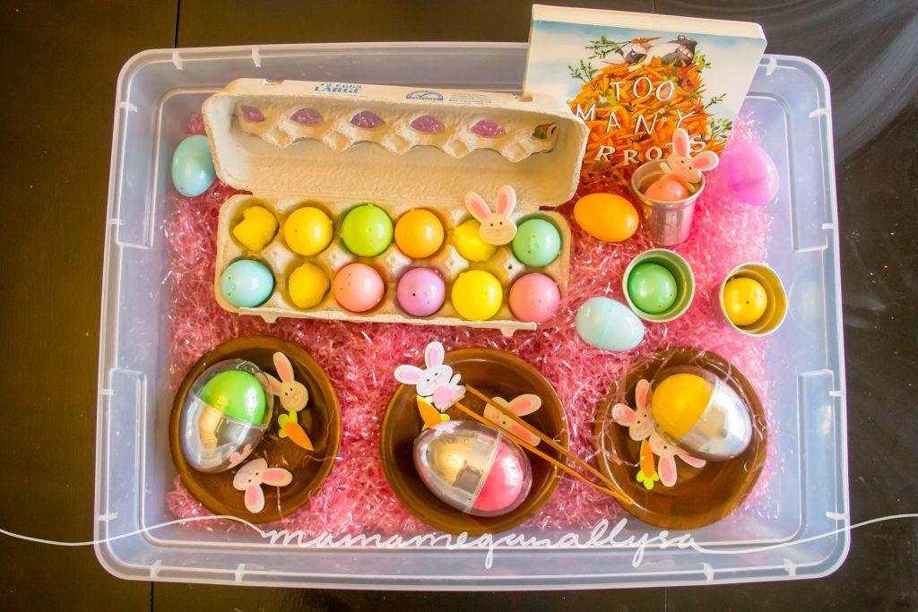 whats inside our Easter egg sensory bin