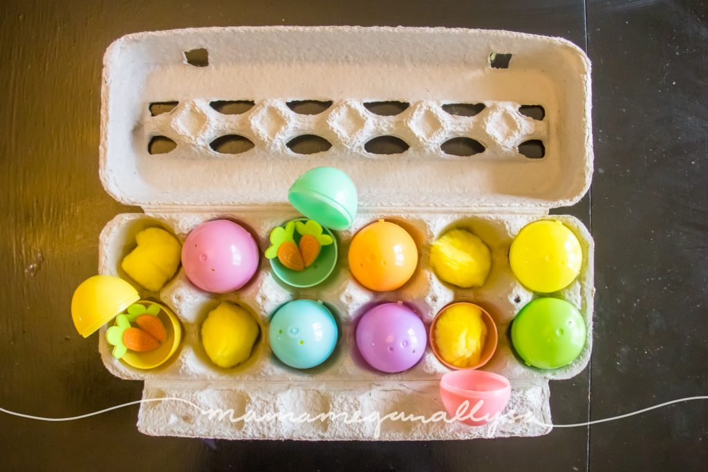 the egg carton, plastic eggs and pompoms