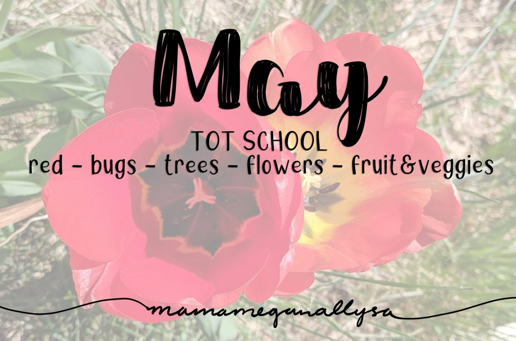 May 2019 Tot School activities title card showing a top down view of red tulips