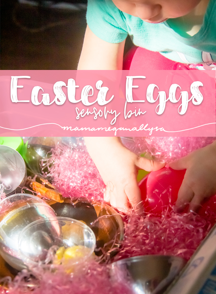 An Easter Egg Sensory bin with lots of eggs and fun surprises to discover