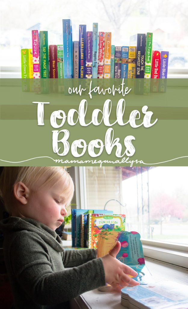 the title card for our favorite board books showing a toddler reading and a stack of books
