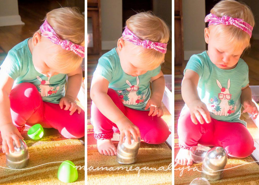 stacking the Easter egg halves