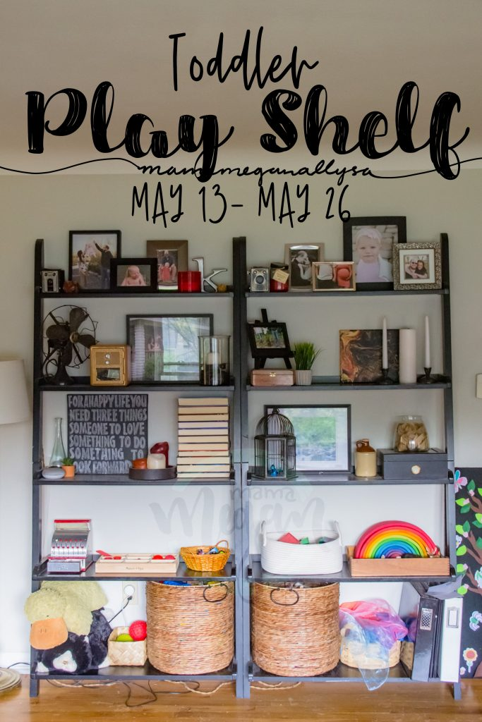 A title card for our play shelfie from mid may showing the livingroom bookshelves with toys on the bottom two shelves