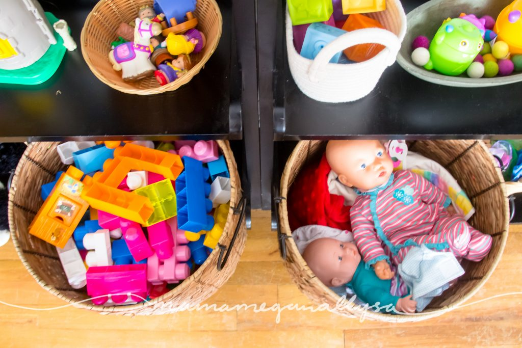 the big baskets of mega blocks and baby dolls