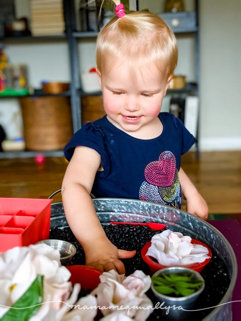 A toddler in a blue shirt playing in a black bean garden sensory bin
