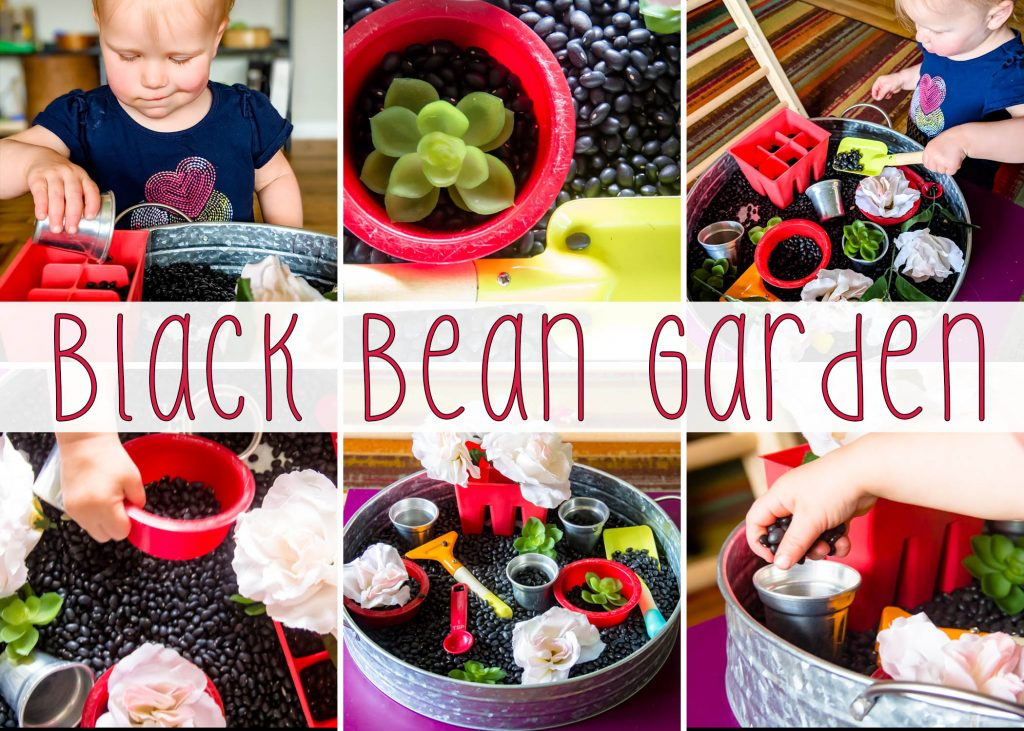 a collage title card with 6 pictures showing a black bean garden sensory bin