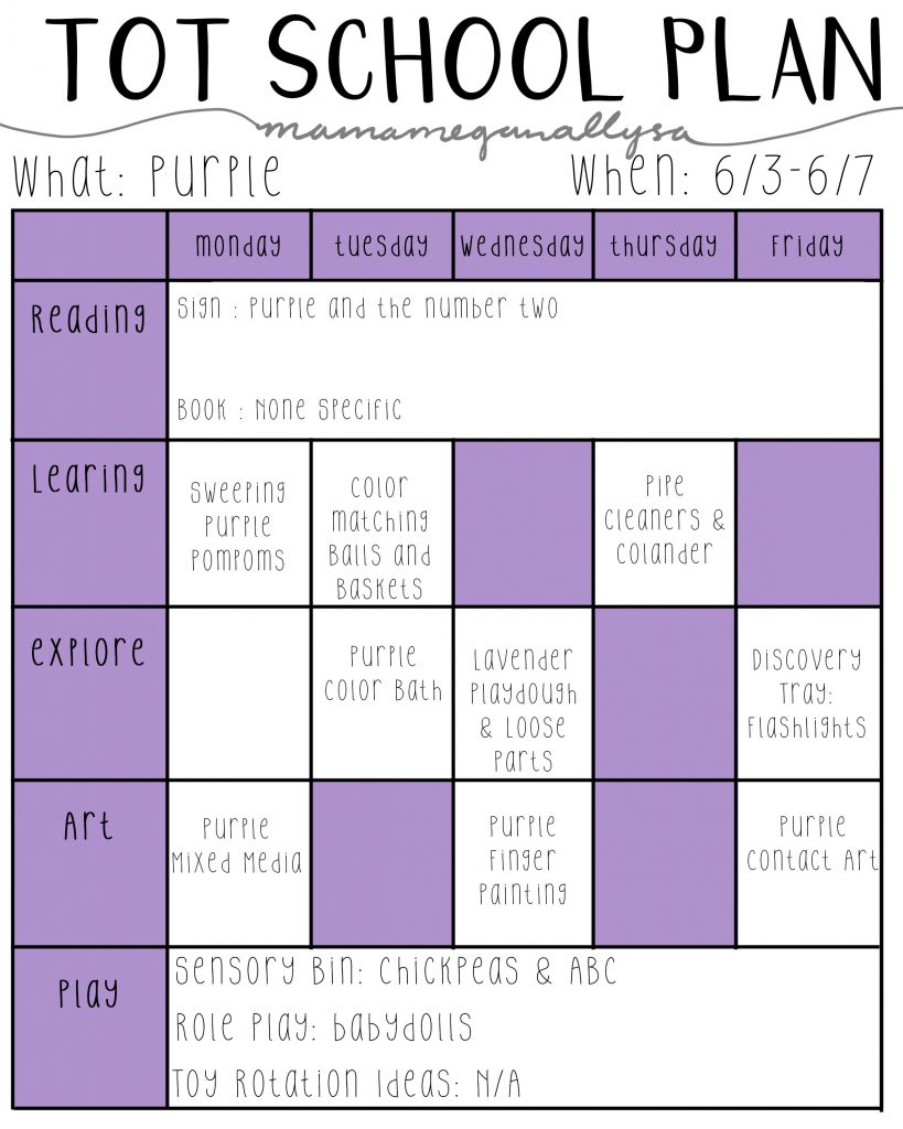 purple lesson plans