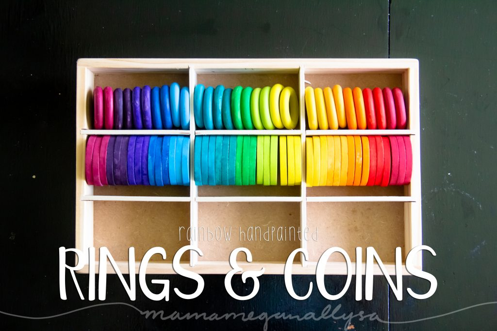 rainbow hand-painted wooden coins and rings for loose parts play