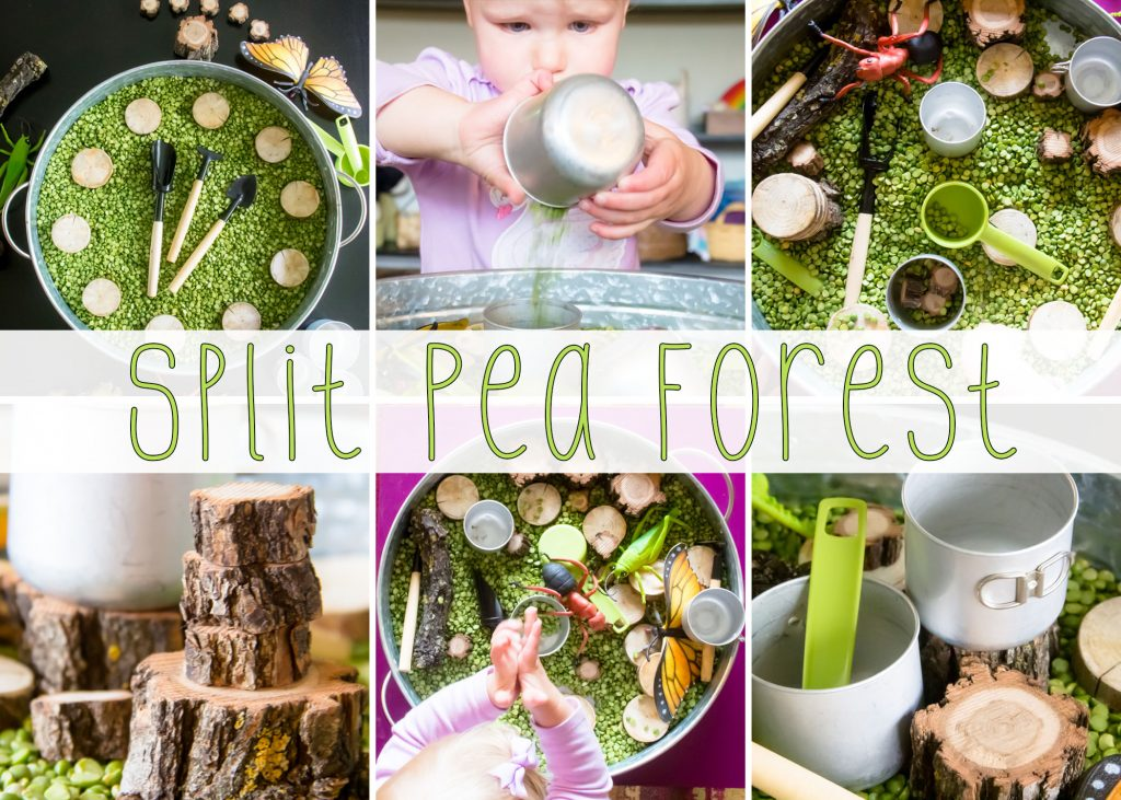 title card for Split peas sensory bin