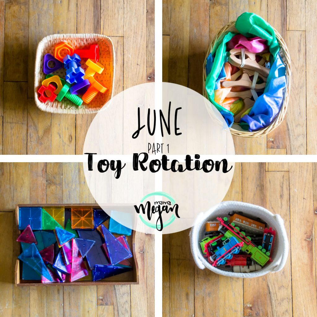 a title card for the toy rotation for the first part of June