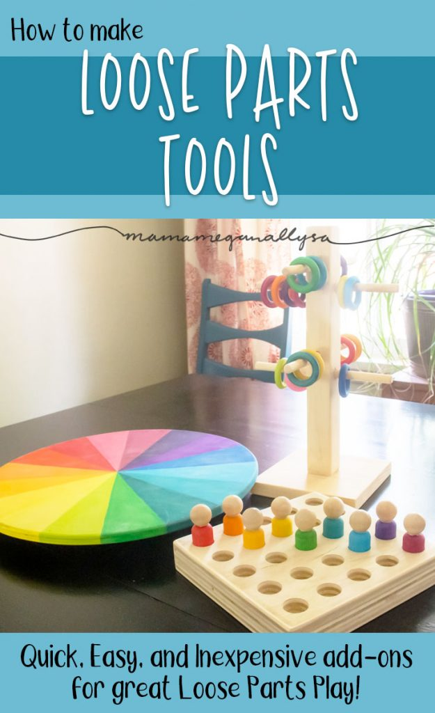 How to make Loose parts tools including a lazy susan color wheel, a ring tree, and a peg person board