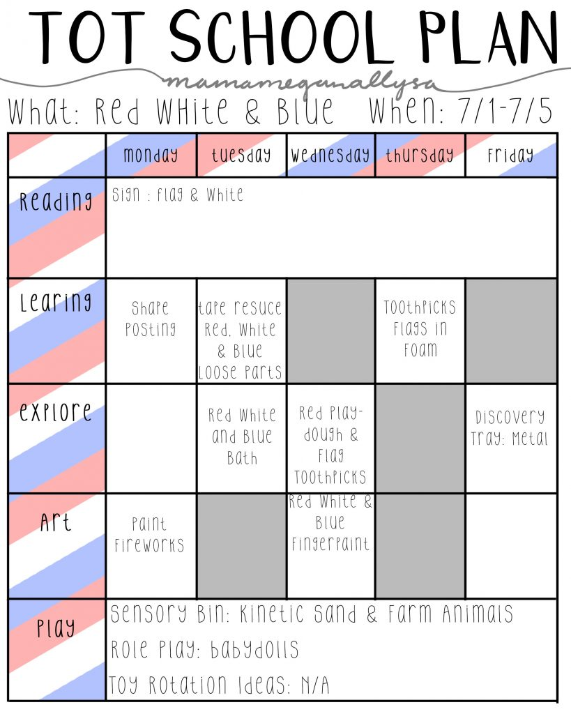 red white & blue tot school lesson plans