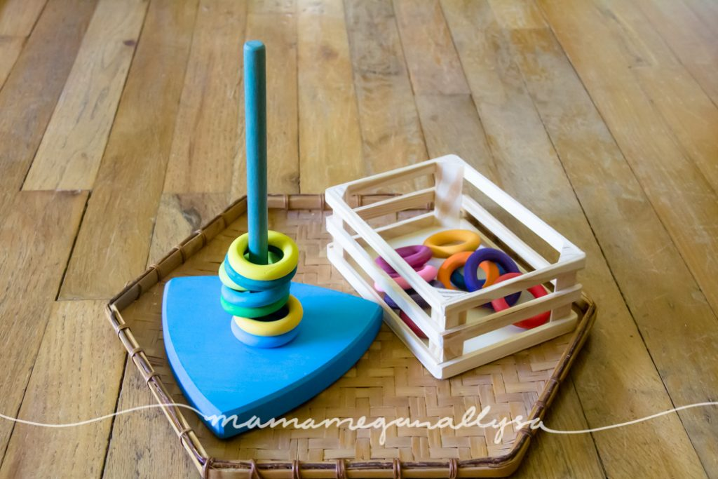 DIY wooden rings and a stacker base for stacking open ended free play