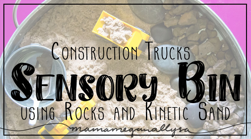Construction Trucks Sensory Bin title card