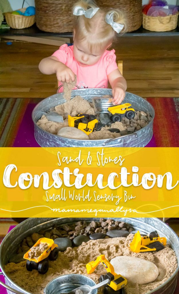 A Kinetic Sand and Construction truck themed sensory bin set up