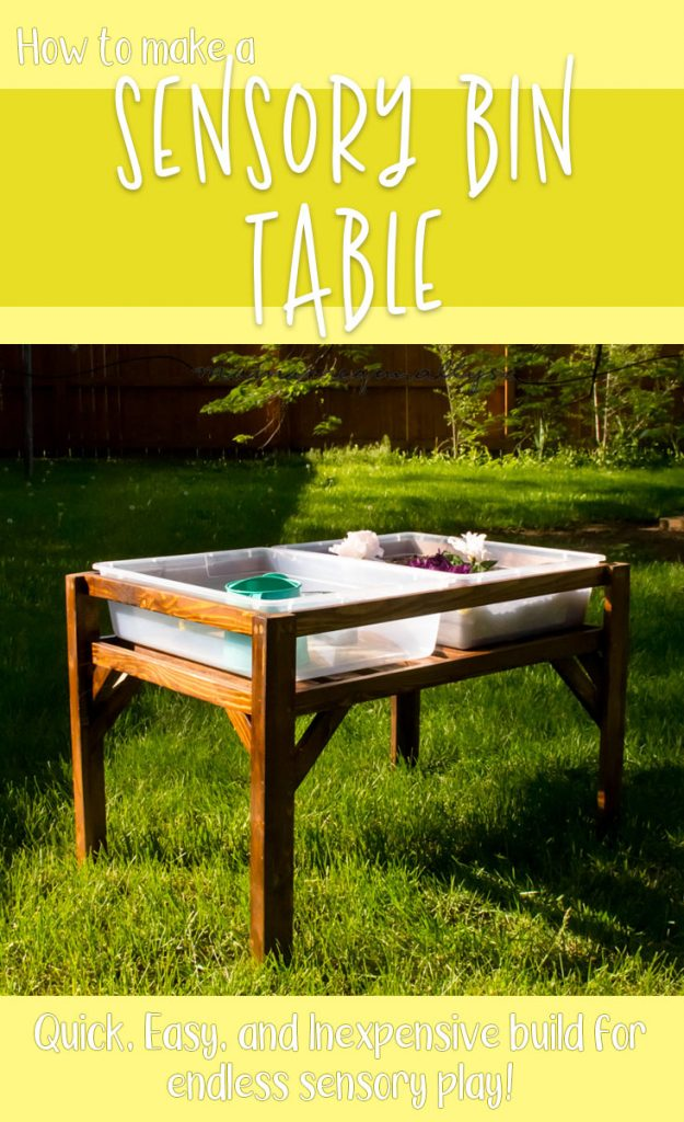 DIY sensory Bin table title card with completed table in the yard
