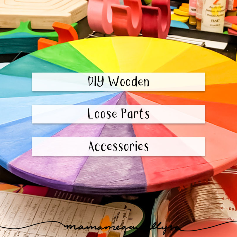 Loose parts tools title card showing the process of painting a rainbow color wheel