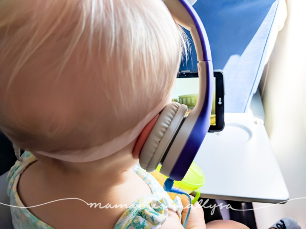 when taking a toddler on airline travel, we like to allow some tablet time with headphones