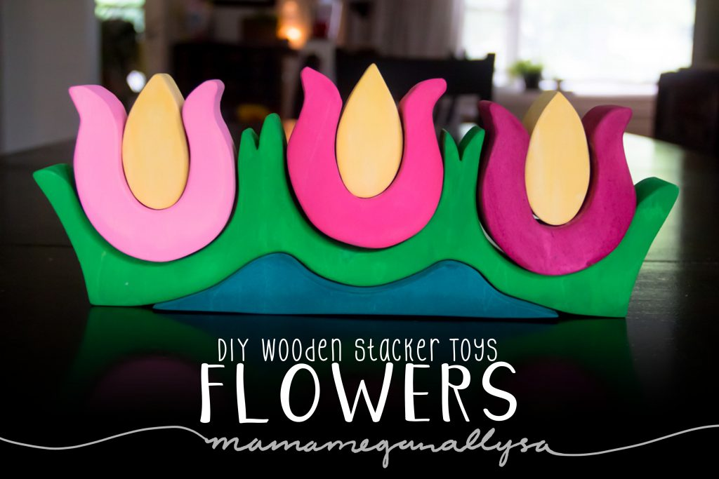 DIY stacker Toys : The Flowers : With a bright green base and a gradient of three pinks for the blooms of the flower