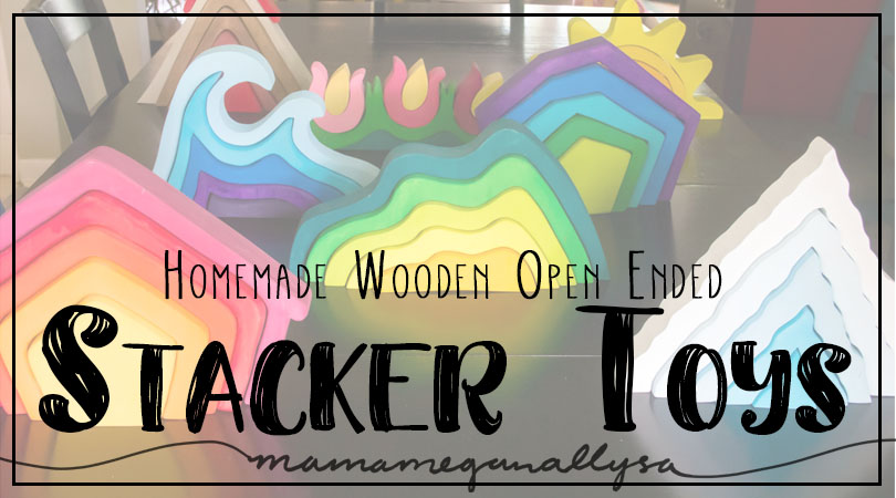 Homemade wooden open-ended stacker toys great for small world play
