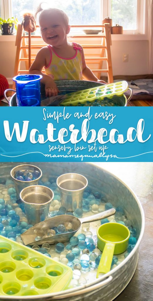 Our water bead sensory play is usually kept simple because the water beads are fun enough on their own!