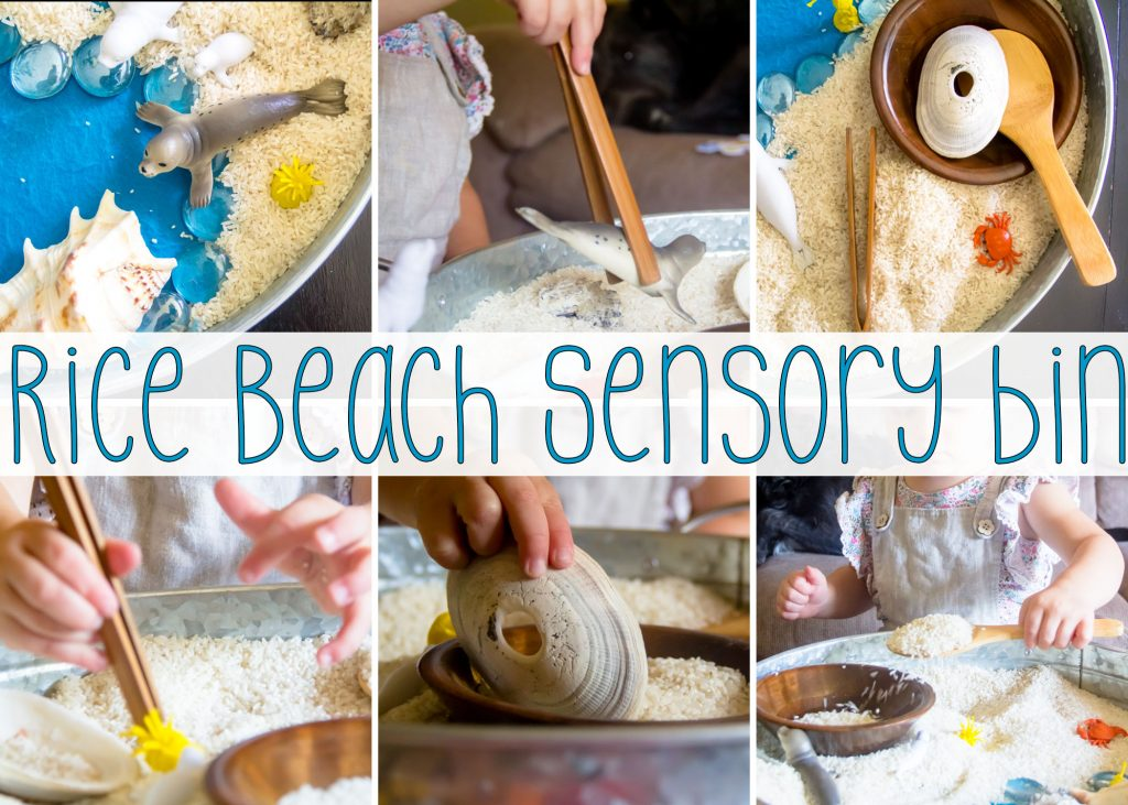 Beach themed Rice Sensory Bin small world play