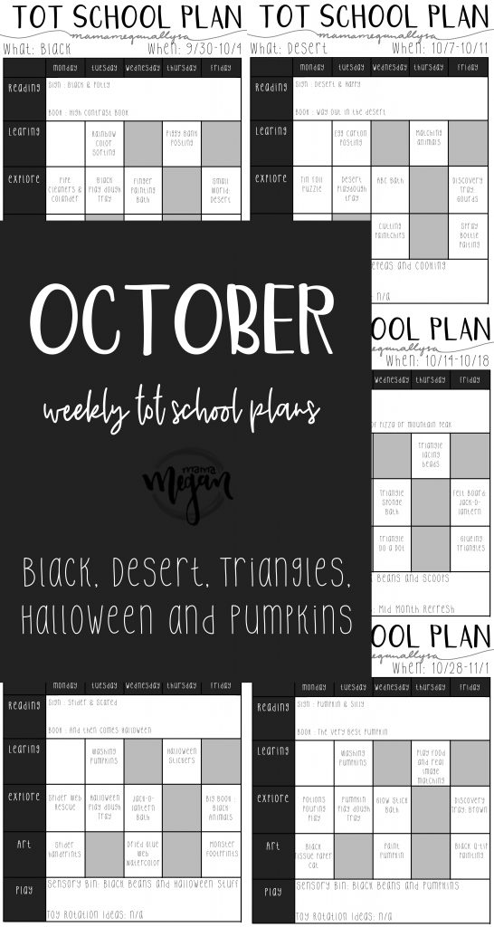 October Tot school plans covering the color black, desert animals, Triangles, Halloween and Pumpkins