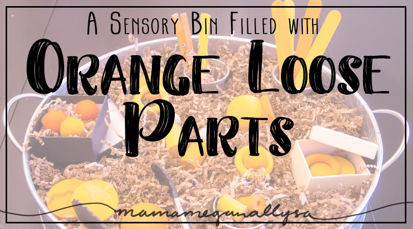 Our Orange Loose Parts Sensory Bin is very simple, but plenty of open ended play to be had!