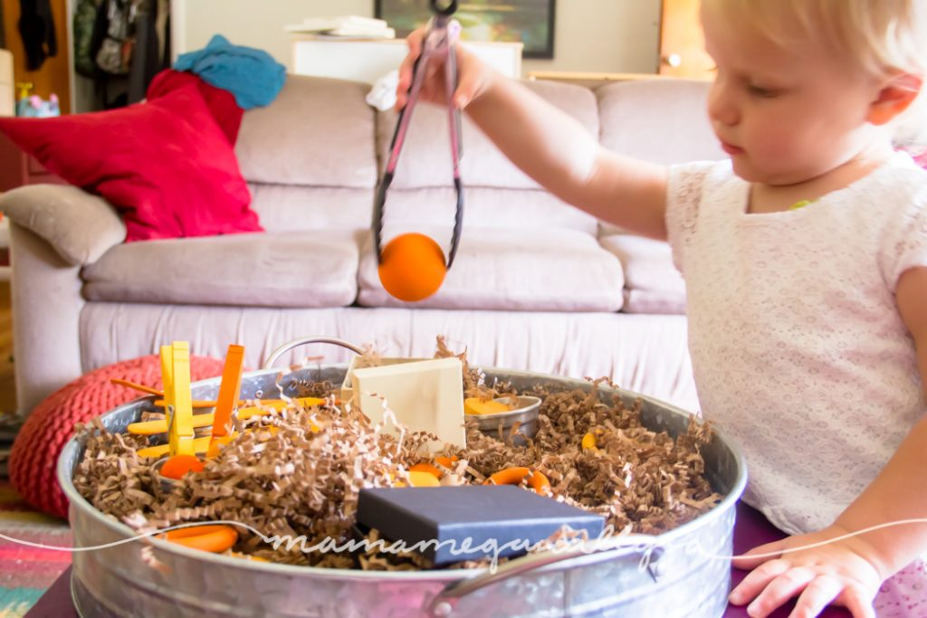 our orange loose parts offered lots of different sizes and weights to practice with the tongs