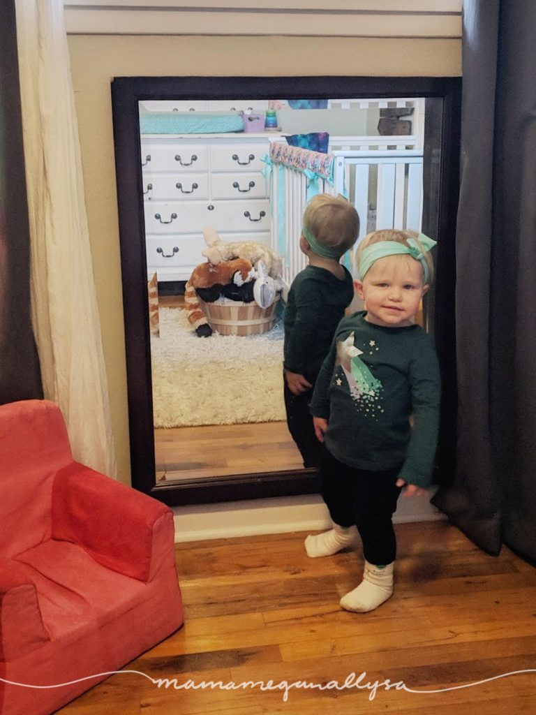 You hear a lot about mirrors for babies, we had a small mirror for her then and she was never very interested. That has certianitly changed, she is always checking herself out now and I am sure it will be much loved as she gets into dress up play