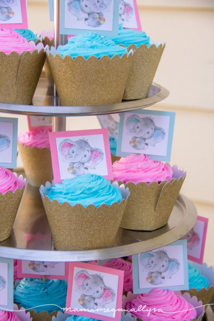 cupcakes with pink and blue frosting and baby elephant card cupcake toppers