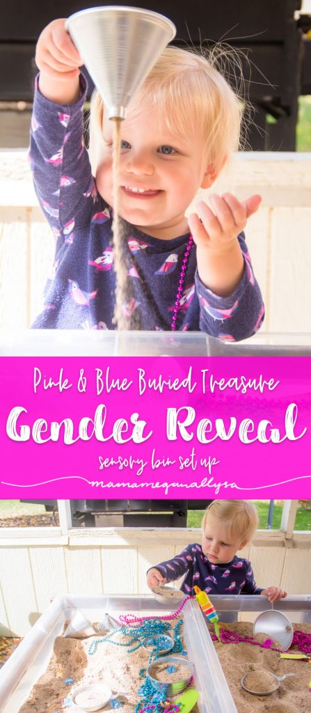 Our Gender Reveal Sensory Bin uses the classic combo of pink and blue and a long standing kid favorite. SAND!