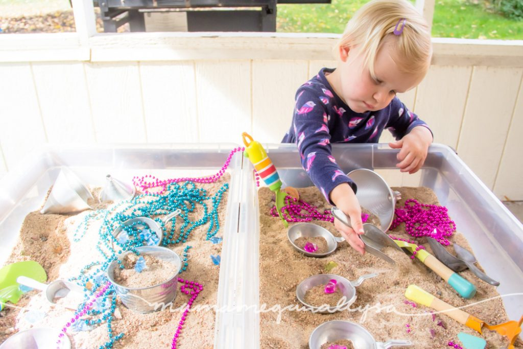 Sand is a classic for a reason it so simple and kids love to play in it. Not to mention its fairly cheap for large sensory bins!