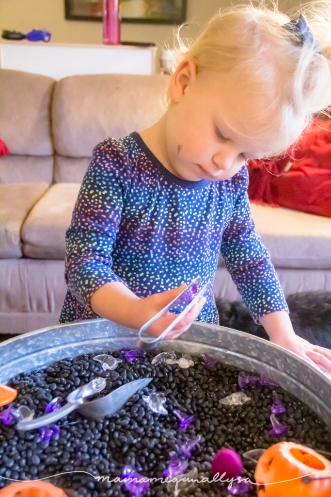 Tongs are a great sensory bin tool to work on fine motor skills