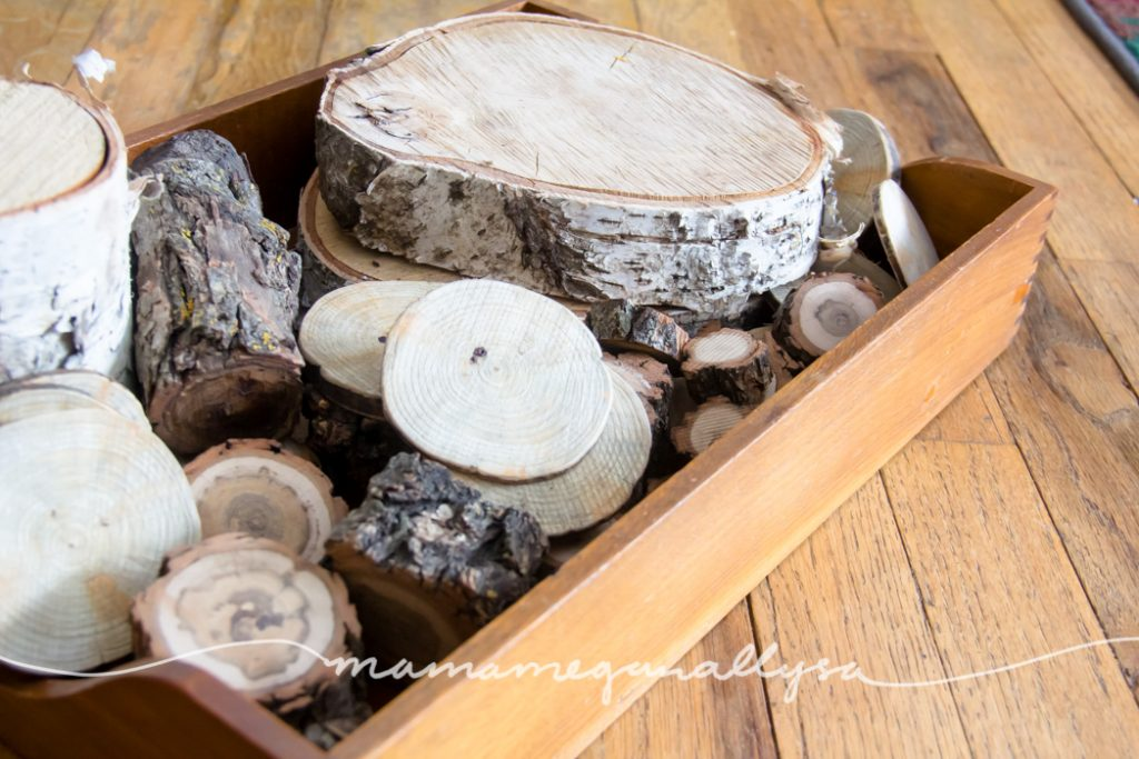 Some natural wooden coins and logs for some loose parts play and stacking
