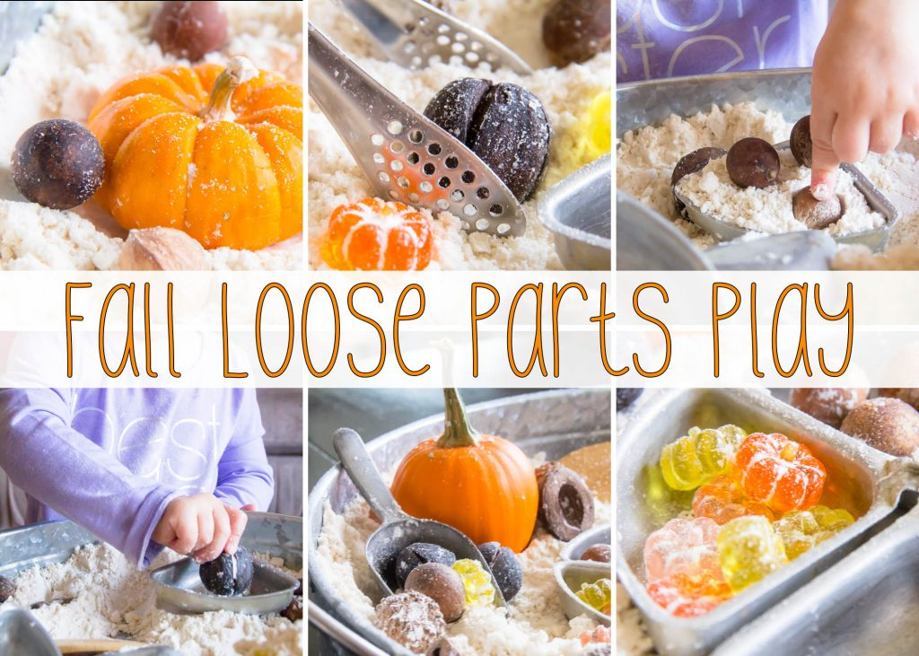 Adding loose parts to our fall sensory bin was a no brainer it is quickly becoming one of our favorite ways to play with sensory bins!