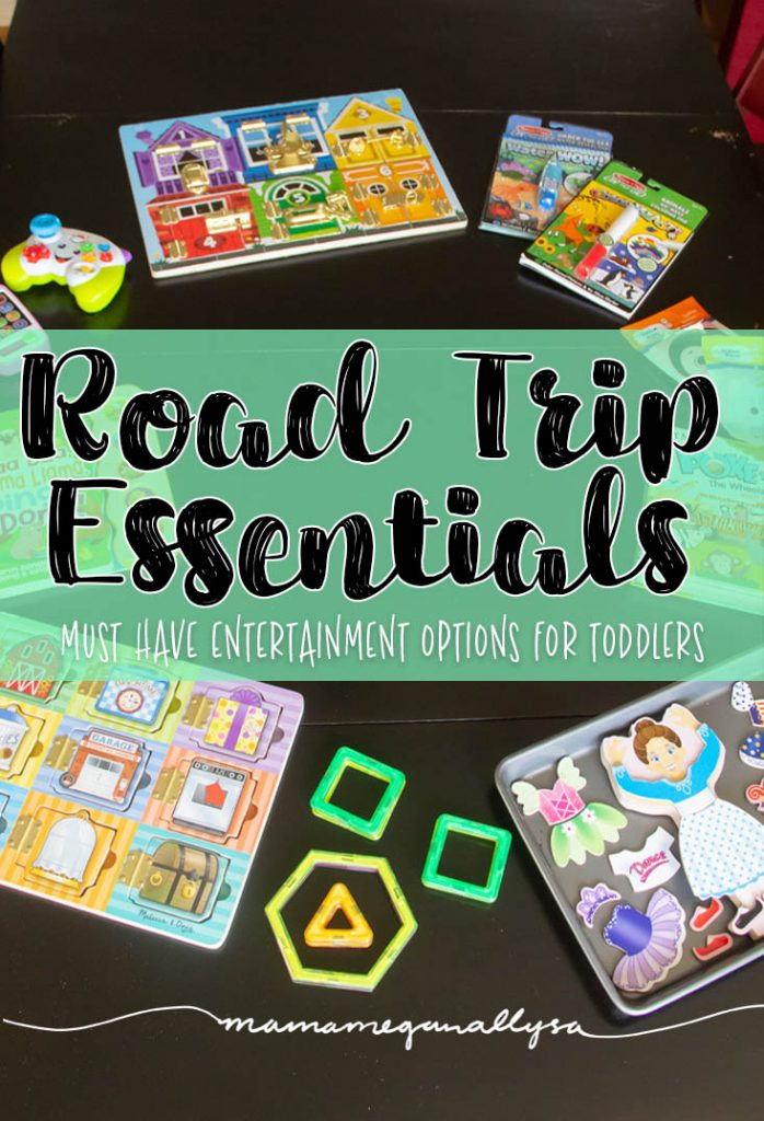 My Toddler Road Trip Essentials include some fine motor, some creative coloring, some building and some classic toddler button pushing!