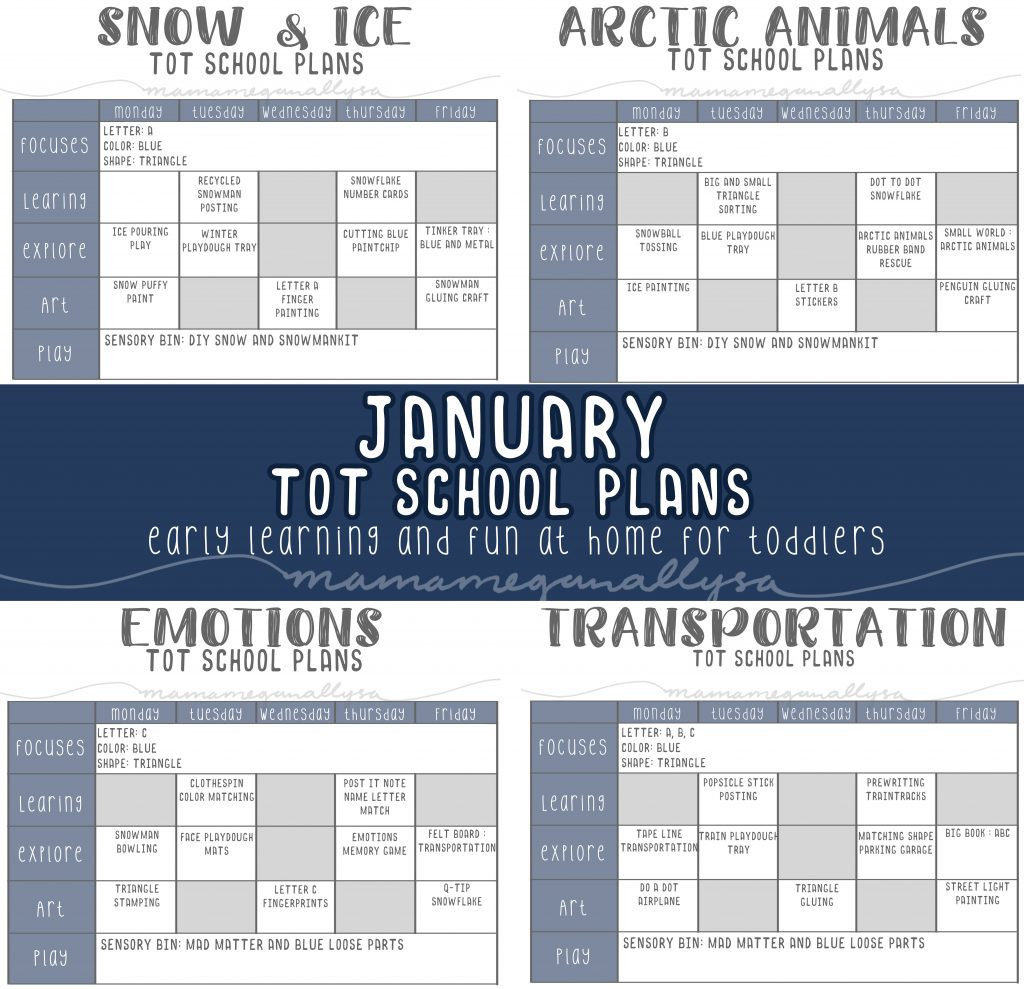 our January Tot school plans will cover snow & ice, Arctic Animals, Emotions, and Transportation.