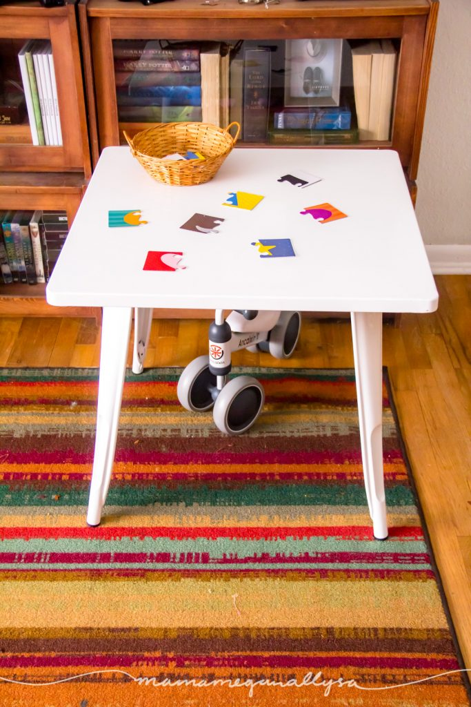 Puzzles and games seem to be her jam right now so this table is played at everyday.