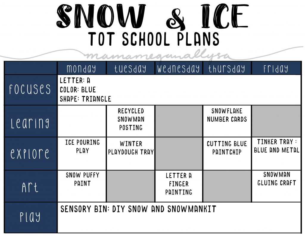 our Snow and Ice tot school plans will cover snowmen, snowflakes and some ice play