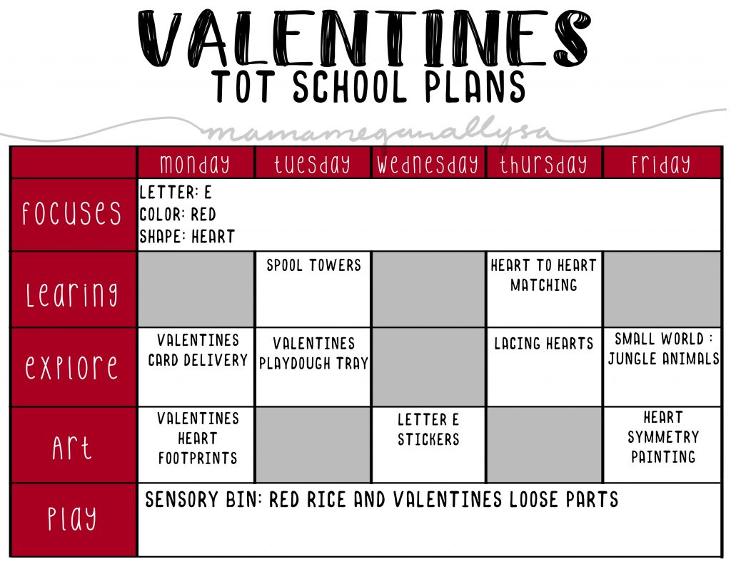 What would February Tot School be without lots of fun valentines activities centered around Hearts and the color red!