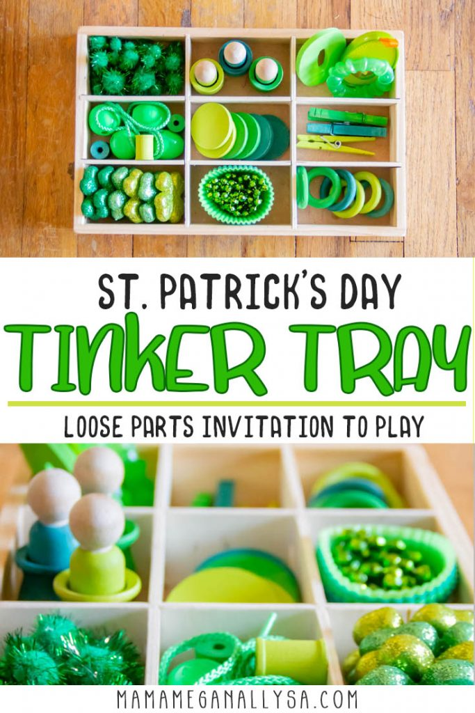 Our green tinker tray is a perfect invitation to play for our St. Patrick's Day Toy Rotation